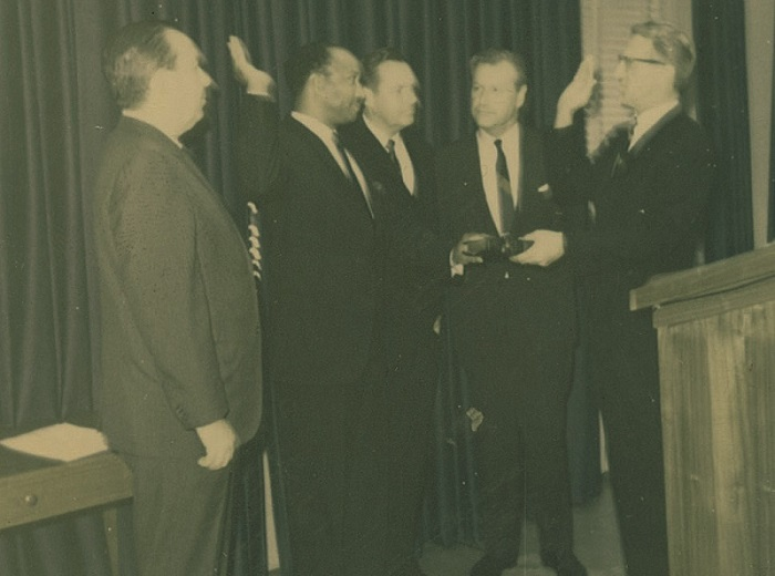 George H. Fowler's swearing-in ceremony. Fowler was a Board Member from 1967 until 1972.