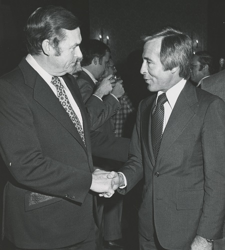 Robert D. Helsby, who served as PERB's Chair from 1967 until 1977, with Dean Streiff, director of field services  for the New York Teachers' Association.
