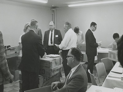 Counting ballots at the first election in a police unit.