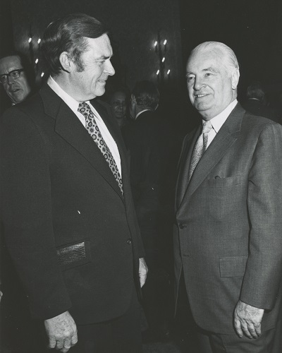 Chair Helsby speaks with Harry Van Arsdale, President of the New York City Central Labor Council, AFL-CIO, 1968.
